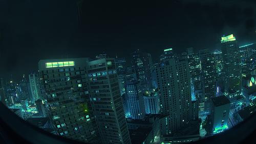 Fish-eye lens of future Tokyo
